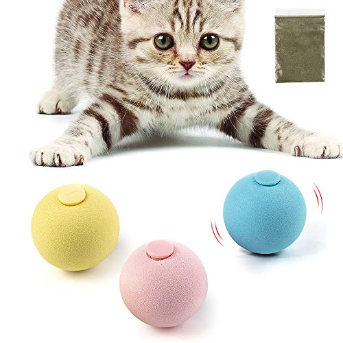 PAKESI Cat Toy Ball 3PACK Including Frog Cricket Bird Three Kinds of Calls for cat Gravitational Ball Builtin Catnip