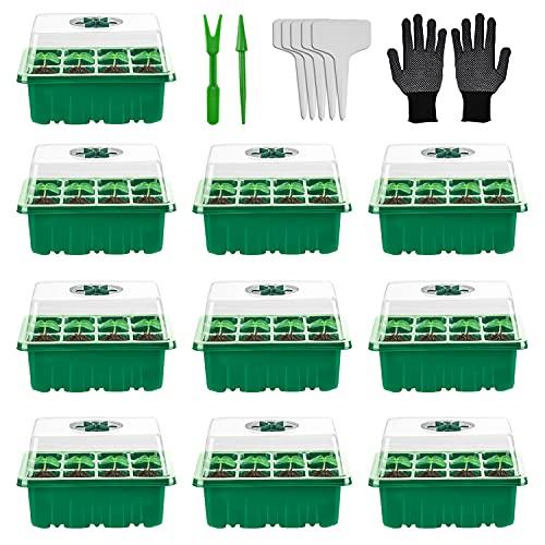 Herefun Bandejas para Semilleros con Agujero, Semilleros de Germinacion Mini Invernadero, Bandejas de Cultivo con Etiquetas y Herramientas, Bandejas Plántulas para Plantas Semilla (10 pcs)
