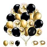 YELYAN Juego de 60 globos de 30 cm, globos dorados y negros, globos metálicos de látex confeti, globos de helio para bodas, cumpleaños, baby shower, decoración de fiesta (negro)