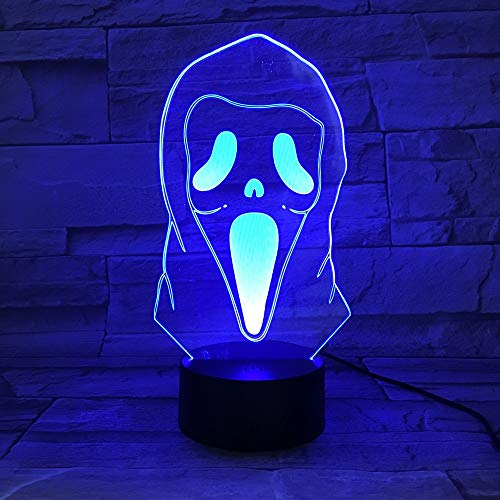 Solo 1 piezas 3D Illusion Led Night Light Lamp Ghost Grimace Horrifying Novelty Lights Home Decoración de Halloween Niños Niño Cool Gift 3d Lamp