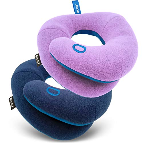 BCOZZY Kids Bundle- 2 Travel Neck Pillows for Toddlers- Super Soft Head, Neck, and Chin Support, for Comfortable Sleep in Car Seat Booster and Plane- Washable, Navy, Light Purple
