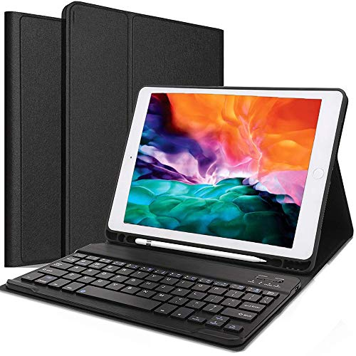 Satohom Keyboard Case for iPad 9.7 Inch 2018 2017 6th 5th Generation Keyboard Cover Bluetooth Wireless Keyboard for iPad Pro 9.7 iPad Air 2 iPad Air 1 Detachable Keyboard Case with Pencil Holder Black
