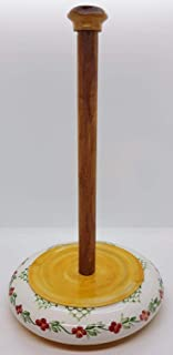 Portarotolo da cucina Arancio Linea Fiori Realizzato a Mano Le Ceramiche del Castello Made in Italy