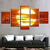 mmwin Lienzo Grabados HD Decorativos para el hogar 5 Piezas Arte de la Pared Imágenes modulares Lado de la Cama Cartel de Las Ilustraciones del Fondo