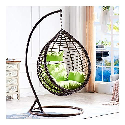 Lejzh Opknoping stoel met kussen, in de open tuin, patio-hangende gevlochten wilg