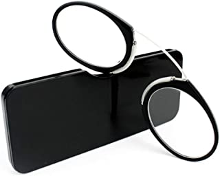 Fashion Clip on Nose Reading Glasses unisex Portable mini Glasses for Reading Eyeglasses With Box(black,+1.0)