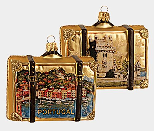 Pinnacle Peak Trading Company Portugal Travel Suitcase Polish Blown Glass Christmas Ornament ONE Decoration