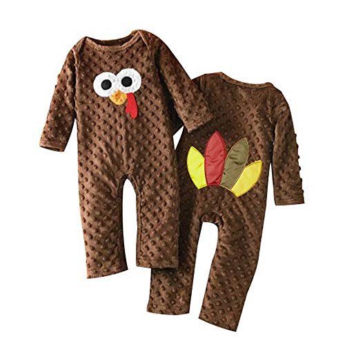 Viworld Baby Boy Girl Thanksgiving Romper Toddler Turkey Jumpsuit One-Piece Fall Winter Clothes (Brown, 0-6 Months)