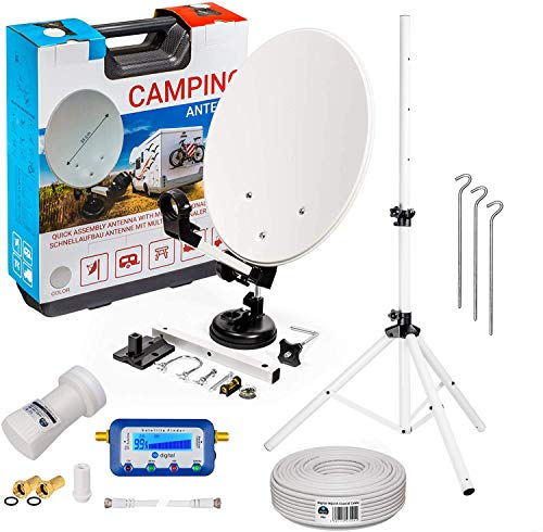 HB-DIGITAL Camping Sat Anlage im Koffer: Mini Sat Schüssel 40cm Hellgrau + Dreibein Stativ + UHD Single LNB 0,1 dB + SF55 SATFINDER + 10m SAT-Kabel inkl. F-Stecker + HDMI - Full HD Komplett Set
