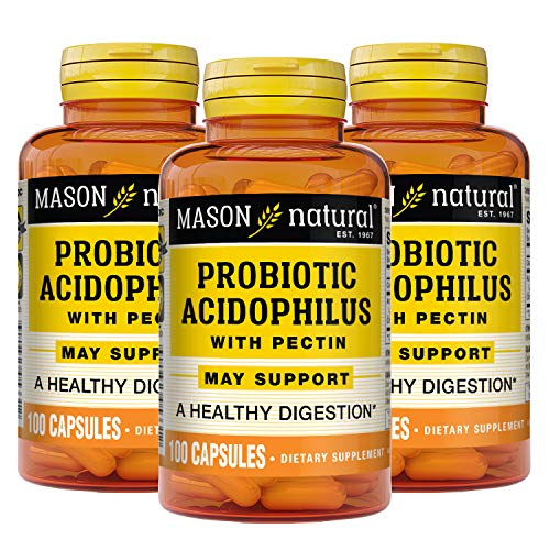 MASON NATURAL Acidophilus with Pectin Capsules, Probiotic Dietary Supplement, Supports Healthy Digestion, May Ease Stomach Discomfort Due to Digestive Issues, 100 Count, Pack of 3