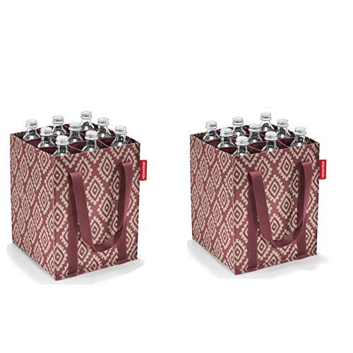 reisenthel 2tlg. Flaschenhalter/bottlebag/Einkaufstasche Polyester, faltbar (Diamond Rouge)