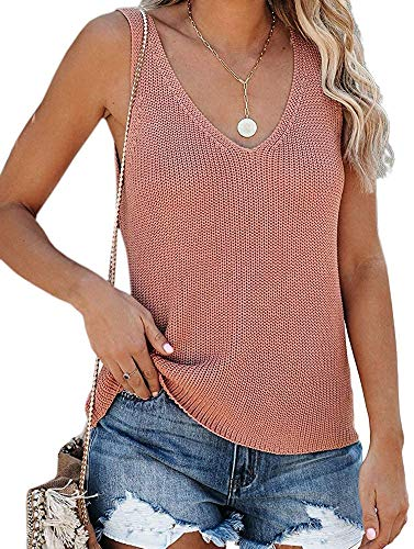 Cisisily Women's Summer Casual Soft Sweater Vest Fashion Knited Cami Blouse Shirts Medium Pink