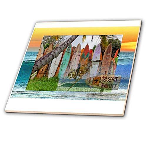 3dRose CT 53869_ 2Desert Point Surfen Spot mit Collage Surfbrett Background-Ceramic Fliesen, 6