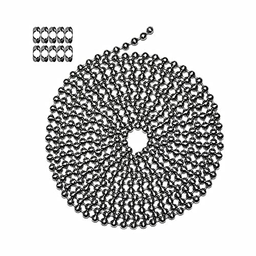 Ball Chain Number 13 Stainless Steel Ball Chain - 10 Foot Long Bead Chain - 6.3 mm in Diameter - 10 Matching B Couplings