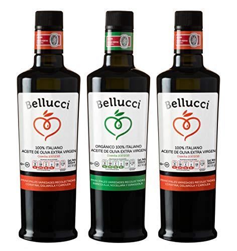 BELLUCCI CAJA x 3 Aceites de Oliva Extra Virgen Premium 100% Italiano *Kosher* ( 1 x Aceite Extra Virgen Orgánico & 2 x Aceite Extra Virgen 100% Italiano Classico) 3 Botellas de 500ml