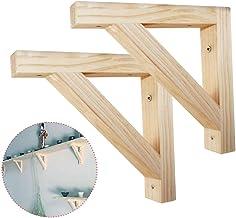 Shelf Brackets 2pcs Regalhalterung Holz 200mm Regalkonsole Vintage Regal Unterst/ützung Wandregal Winkel Regaltr/äger Log Schwerlastwinkel Mit Schrauben (unbemalt)
