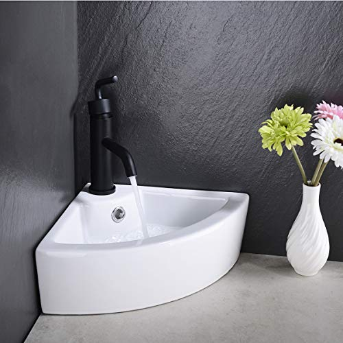 Small Corner Ceramic Above Counter Top Bathroom Sink with Drainer, Vessel Sink with Overflow
