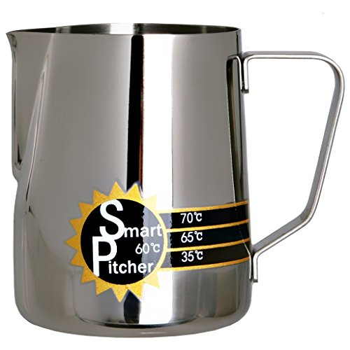 SMART PITCHER Espresso Coffee Milk Frothing Pitcher With Built-In Thermometer, Stainless Steel (12 oz)