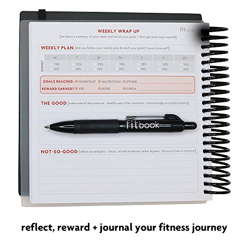 Product Image 8: Fitlosophy Fitbook: Fitness Journal and Planner for Workouts, Weight Loss and Exercise, Black Single (12-Week)
