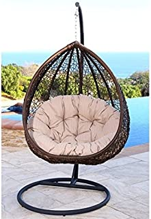 Abbyson Living Sonoma Outdoor Wicker Swing Chair in Beige