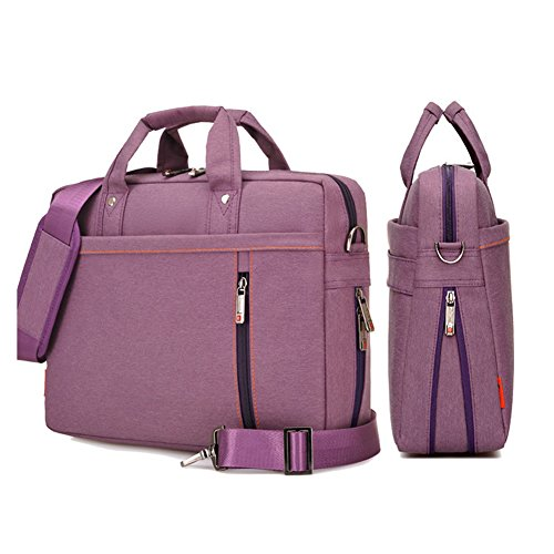 SHUL Double-Layer Air Cushion Shockproof Laptop Bag 17 inch Extensible Computer Shoulder Bag Messenger Water Resistant Business Briefcase for Chromebook Ultrabook Acer Dell Hp Sony Ausa Samsung Purple