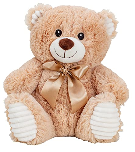 Lifestyle & More Teddybär Kuschelbär Braun mit Schleife 27 cm groß Plüschbär Kuscheltier samtig weich - zum liebhaben