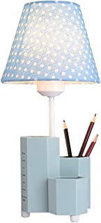 Boys and Girls Bedroom Bedside Reading Table Lamp, Children's Multi-Functional Learning Table Lamp, Creative Pen Holder Base and Polka Dot Lampshade Design, High 35.5CM (Color : Blue)