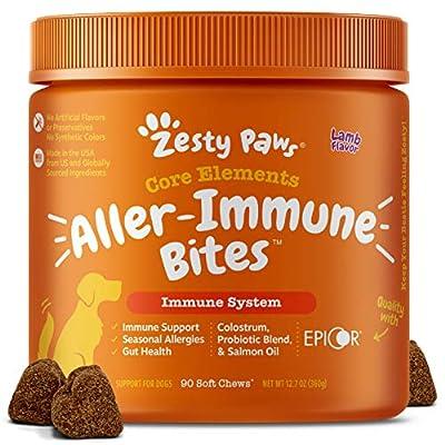 Allergy Immune Supplement for Dogs Lamb- with Omega 3 Wild Alaskan Salmon Fish Oil & EpiCor + Digestive Prebiotics & Probiotics - Anti Itch & Skin Hot Spots + Seasonal Allergies - 90 Chews