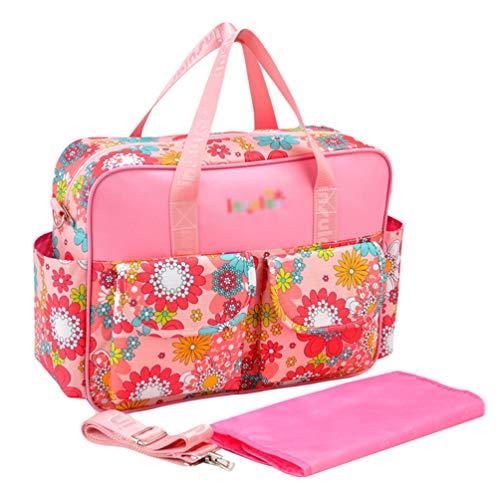 Haobing 2pcs Bolso cambiadores Bolsos Bebé Bolsos Bandolera para pañales Bolsa de Mano Totes Shoppers (Pink, 39 * 12.5 * 29cm)