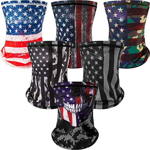 6 Pieces American Flag Kids Neck Gaiter with Ear Loops UV Protection Face Cover Face Bandana Balaclava Headwe (Medium)