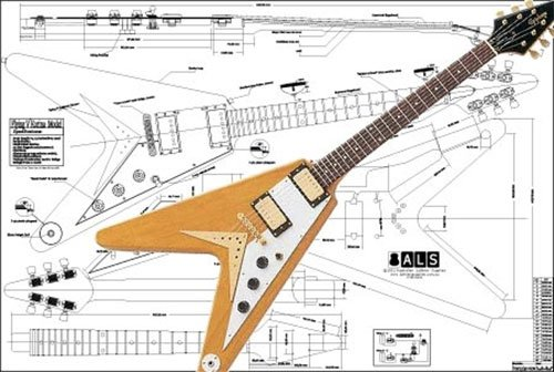 Plan de Gibson Flying V Korina guitarra eléctrica–escala completa impresión