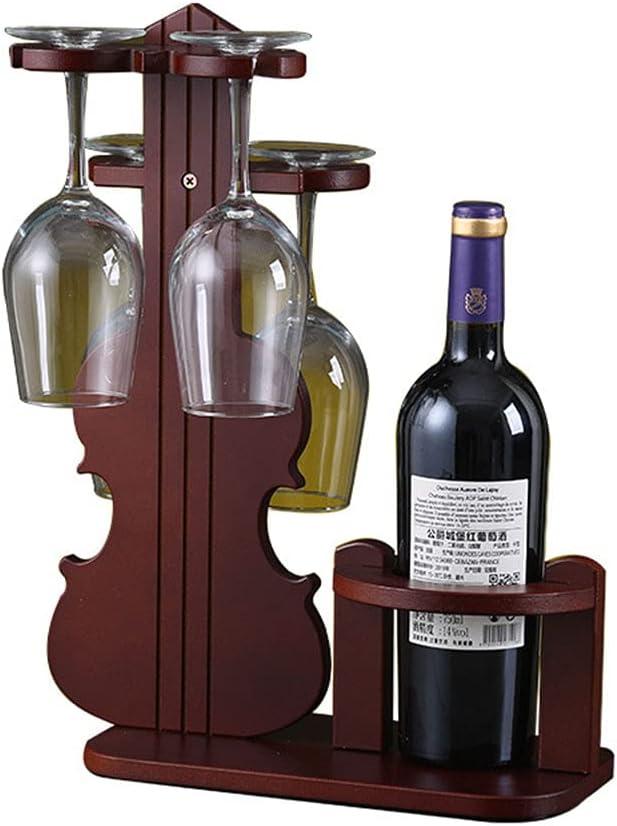 Botelleros Vino Madera Verticales Design para 1 Botellas con 4 Soporte de Vidrio Pequeña Estanterias Mueble Bar Salon Vinoteca Armarios de Vino Botelleros Vino Rojo Marrón