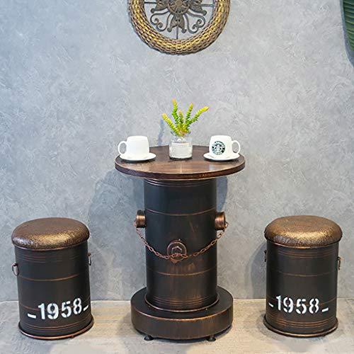 NUBAO Sgabello da Bar Vintage, Sedia da Bar, Tavoli E Sedie A Barile di Petrolio, Sgabello Vintage in Ferro Stile Industriale Combinazione di Tamburi per Barbecue per Il Tempo Libero (Colore : Set)