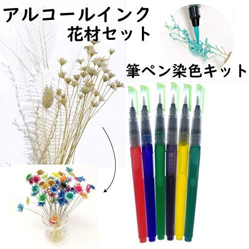 固まるハーバリウム そらプリ クリアリウム アルコールインク 筆ペン 6本 染色キット 花材セット
