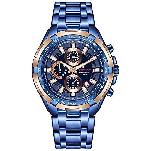 Steel Belt Business Waterproof Watch, Men's Fashion 6-pin Multi-Function Watch, Large Dial,...