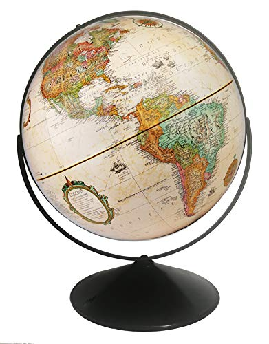 Replogle Eureka 16 inch Desktop Globe with up to Date Antique Raised Relief map and Full Swing gyromatic Assembly