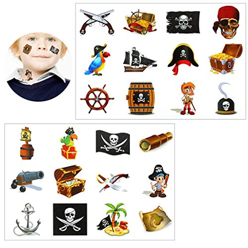 Tumao Piraten Tattoo Set, 16 x Konsait temporäre Kinder Tattoos Konsait temporäre Kinder Tattoos für Piraten Party Kinder Spielen Mitgebsel Kindergeburtstag geschenktüten. (Piraten Tattoo Set)