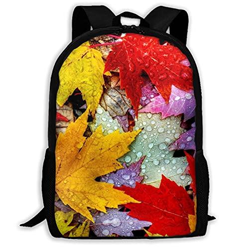 Bingyingne Zaino con foglie autunnali colorate, borsa per libri resistente e carina con tasche spaziose, zainetto per college con stampa divertente, regalo unico per lo zainetto da viaggio