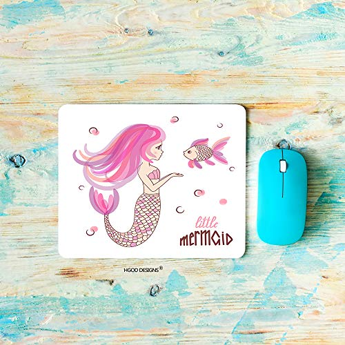 HGOD DESIGNS Mermaid Gaming Mouse Pad,Beautiful Cartoon Pink Mermaid with Fish Mousepad Rectangle Non-Slip Rubber Mouse Pads(7.9'X9.5')