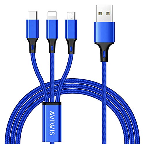 3 en 1 Multi Cable de Carga, AIVWIS 1.2M Cable Multiple Cargador Micro USB Tipo C Nylon Multi USB Cargador para Smartphones, Tablets, Xiaomi, Galaxy, Honor, Sony, OnePlus, LG, Kindle y Más - Azul