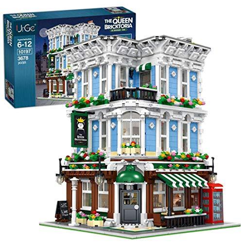 YQRX Modelo de Bloques de construcción de Arquitectura, 3678pcs Europeo Esquina Reina Bar Ciudad casa Calle Vista Pueblo Tienda de Juguetes Conjunto de Edificios modulares Compatible con Lego