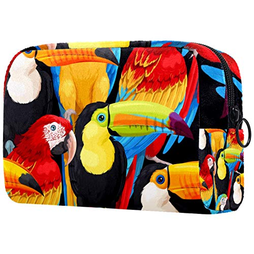 Travel Toiletry Bag,Ultra-Light Cosmetics Bag Makeup Organizer (L xW xH)18.5x7.5x13cm Macaws and Toucans Portable Travel Makeup Case Pouch for Women Girls Multifunctional Bag for Women & Men