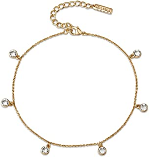 Mestige Women Glass Golden Alina Anklet with Swarovski Crystals