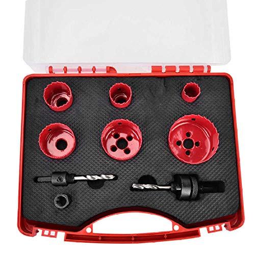 Kit de sierra de corona de 9 piezas Kit de sierra de uso general 7/8 pulg~ 2-1/2 pulg. Con adaptador de taladro guía Juego de cortador de orificios Kit de sierra universal