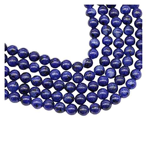 AIHONG Cuentas de Piedra 1strand / Lot Piedra Natural Lapis Lazuli Beads 4/6/8/10/12 MM Mm Perrón Suelto del Espaciador para la joyería Hallazgo Hallazgo DIY Pulsera Collar Fabricación de Joyas