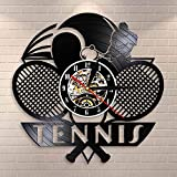 Fantasy Tennis Logo Raquette Court Ball Decor Horloge Murale Tournoi Tennis Match Grand Chelem Disque Vinyle Horloge Murale Joueurs De Tennis Cadeau