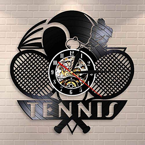 Regalos para Hombres Logo de Tenis Raqueta Cancha Pelota Decoración Reloj de Pared Torneo Partido de Tenis Grand Slam Disco de Vinilo Reloj de Pared Jugadores de Tenis Regalo