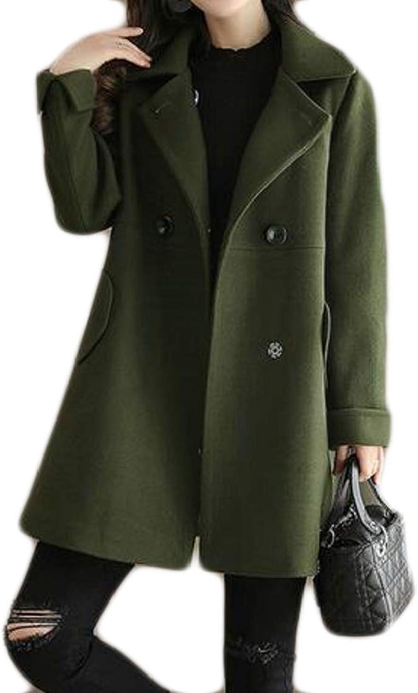 Etecredpow Womens Winter WoolBlend Lapel DoubleBreasted Swing Pea Coats Army Green Small