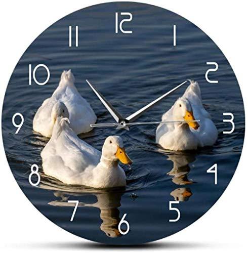 Reloj De Pared Patos Blancos Hermoso Paisaje Reloj De Pared Pato Divertido Pájaro Acuático Granja Animales Domésticos Decoración Linda Para El Hogar Reloj De Pared De Cuarzo Silencioso -30X30Cm