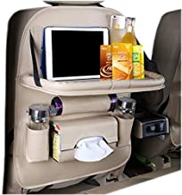 HEYLOVE Car Seat Protector+Backseat Organizer with Tablet Holder and Foldable Tray, Durable Quality Seat Covers,Luxury PU Leather Car Seat Back Organizer,Travel Accessories Organizer. (Beige)